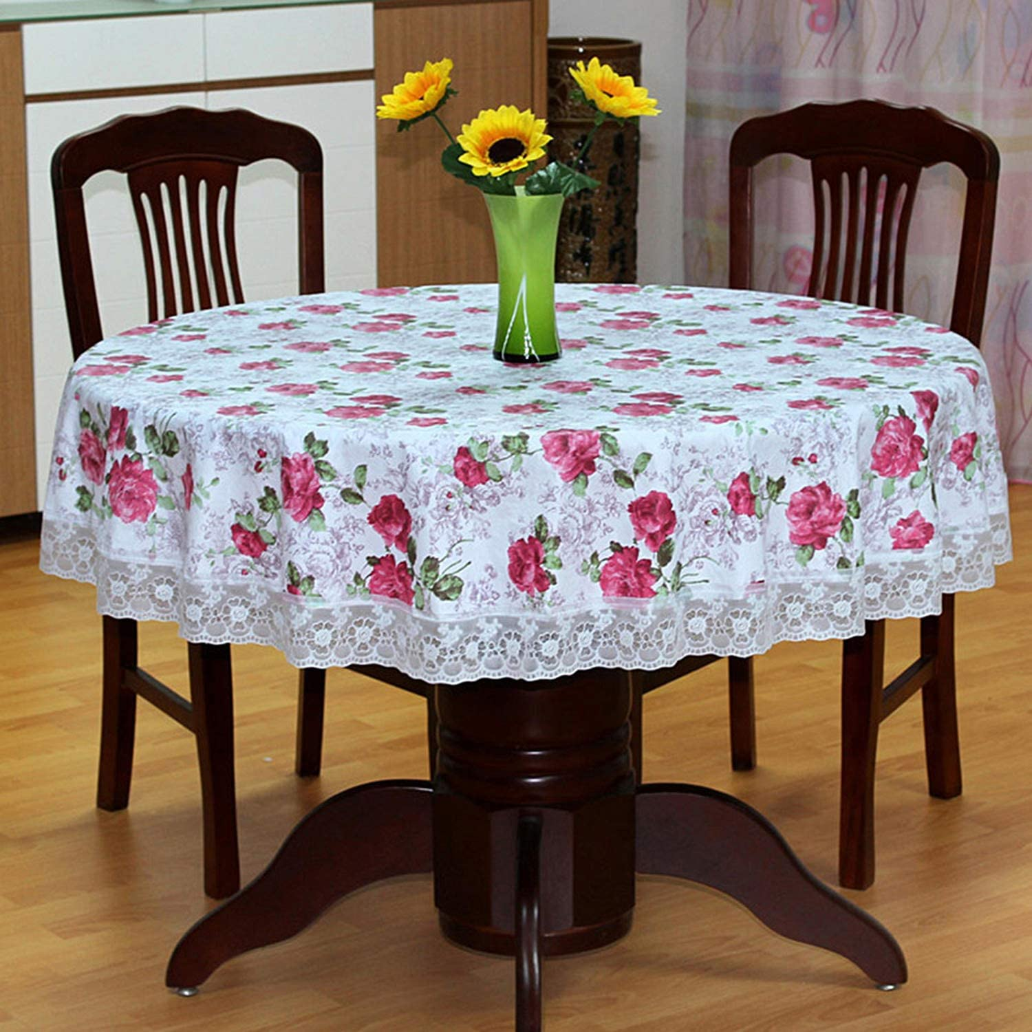 SEPARO Plastic Round Tablecloth Waterproof Rose Flower Pirnt Oilcloth Classic Lace Flannel Backing Tablecloth for Home