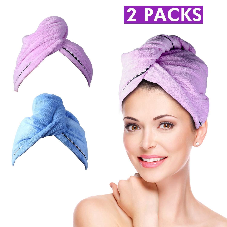2Pcs pelo turbante toalla wrap [62cmx25 cm] para el pelo Secar Toalla Turbante de