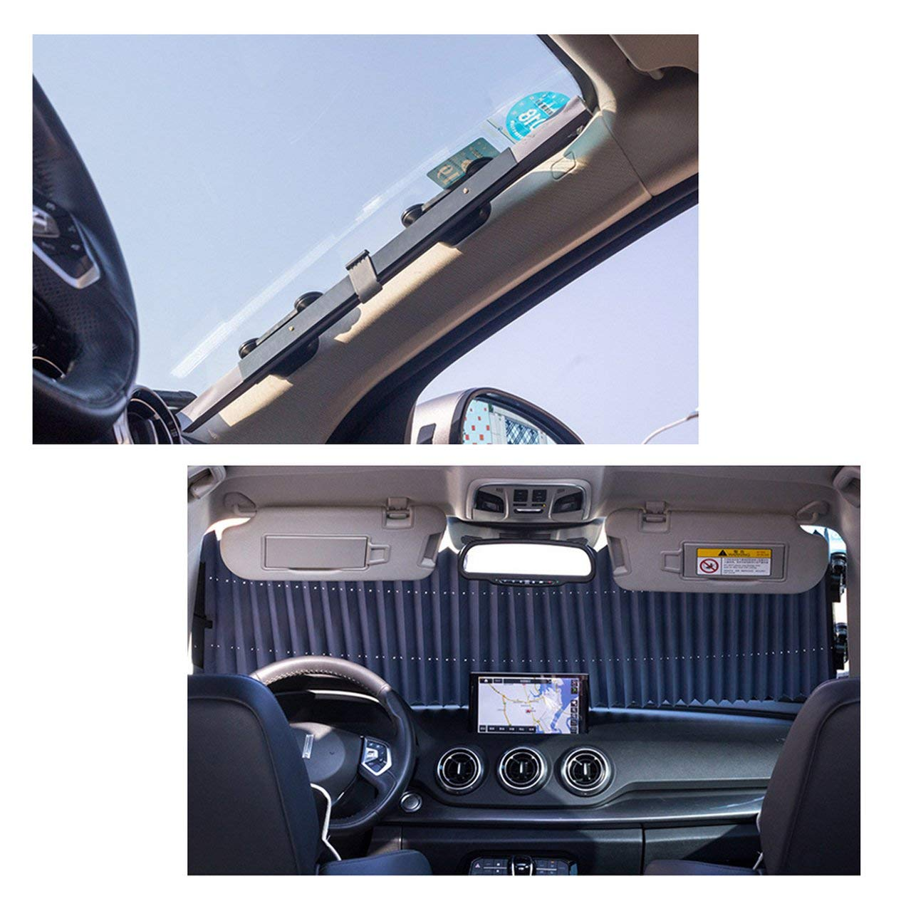 EdBerk74 Front Gear Off-road Vehicle With Double Boxes Of Automobile Retractable Shade Curtain Window SunShades Screen Holder-black