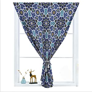 ousente Moroccan Decorative Blackout Window Door Curtains, Persian Gypsy Design Thermal Insulated Self Sticky Curtains for Living and TV Room, Nursery, Home Theatre, 55