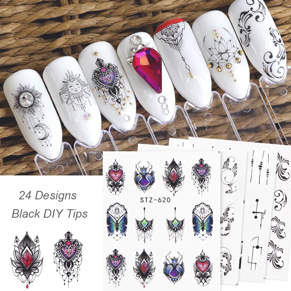 24Sheets Black Nail Stickers Water Transfer Decals Nail Art Tattoos Feather Nail Art Water Slide Nail Decals Nail DIY Decorations Miss Babe
