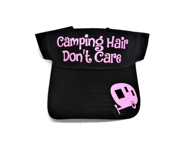 Neon Pink Glitter Camping Hair Don't Care Camper Black Sun Visor