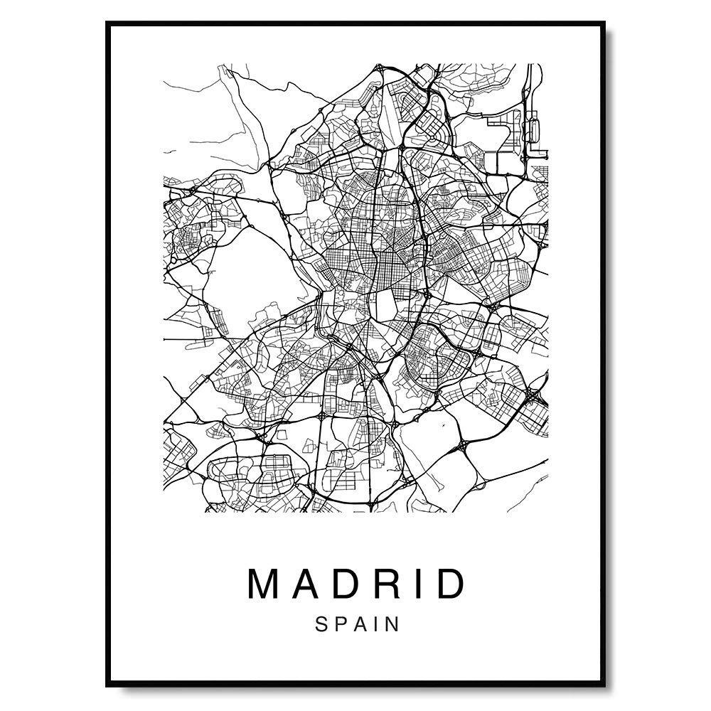 Amazon Com Madrid Map Wall Art Print Poster Spain City Map Street Black White Handmade
