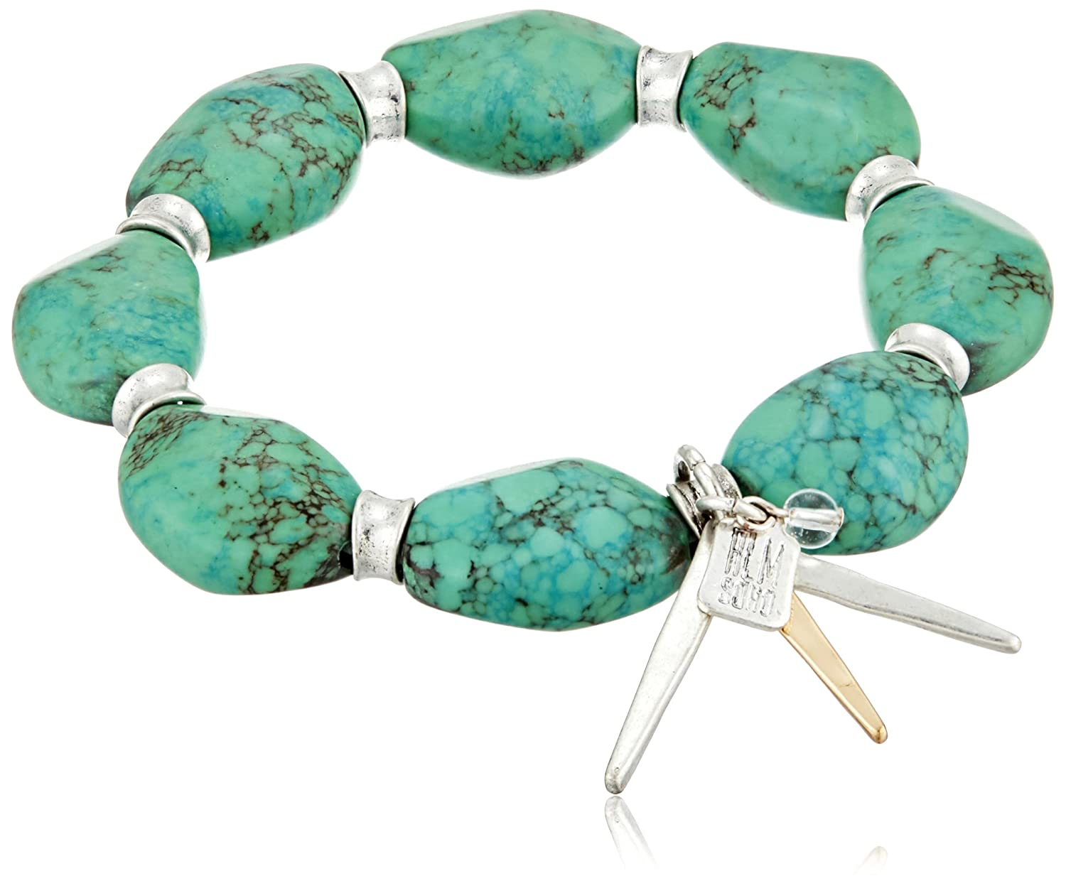 "Robert Lee Morris ""Let's Turquoise About It"" Semiprecious Turquoise Stone Stretch Bracelet"