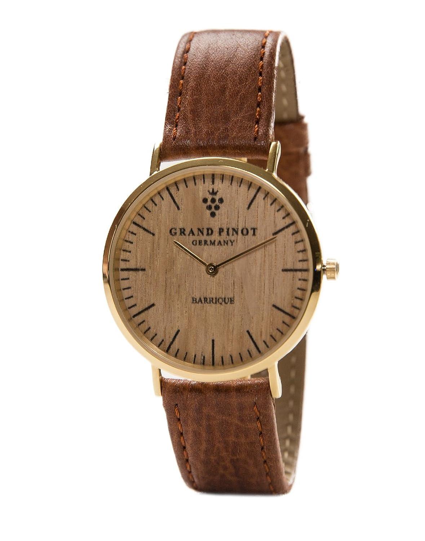 Grand Pinot flache Damen-Armbanduhr CLASSIC (36 mm) Gold-Barriquefass mit hellbraunem Lederarmband (elegante Holzuhr