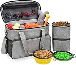 "Dog Travel Bag, Dog Luggage with 2 Collapsible Slow Feeder Bowls, 2 Food Storage Containers, Pet Supplies Tote Organizer for Large Dogs, Puppy ( 21L, 15 x 7 x 12"" )"