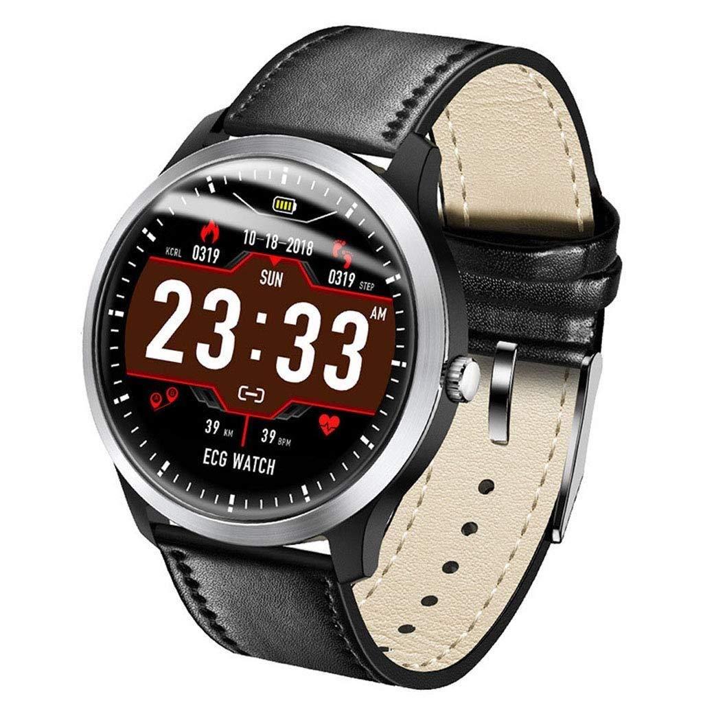 スマートウォッチブルートゥース男性と女性はスポーツ歩数計WeChat天気睡眠監視防水スマートブレスレットを見ます B07QPYYZGX   ブラック