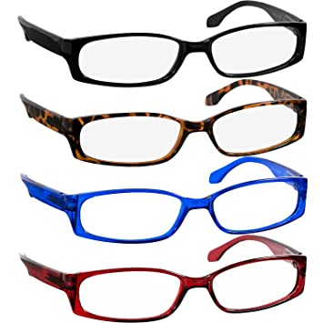 d3bd6779c858 Reading Glasses 2.5 Black Tortoise Red Blue 4 Pack Readers for Men and Women  Stylish Look