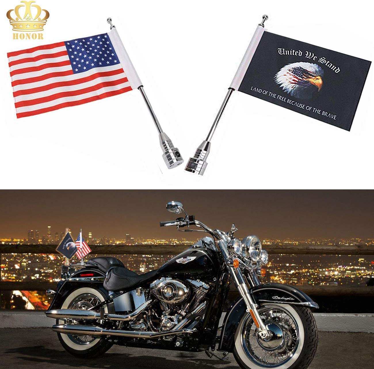 E-Most 6 x 9 Eagle American Flag for Harley Davidson Honda Goldwing CB VTX CBR Yamaha Motorcycle Flags