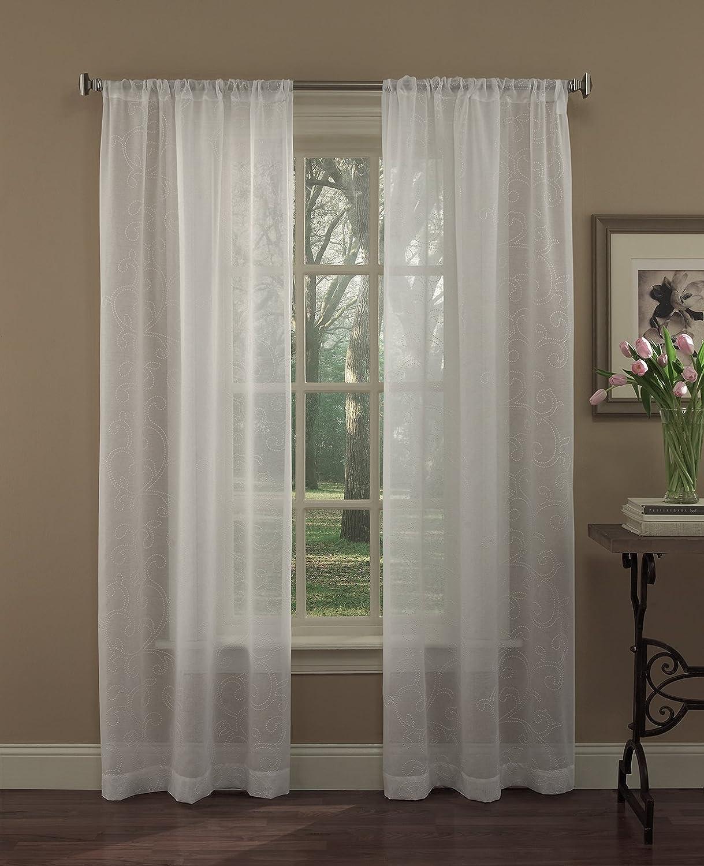 Amazoncom Laura Ashley Diane Panel Pair White Home Kitchen - Laura ashley silk curtains