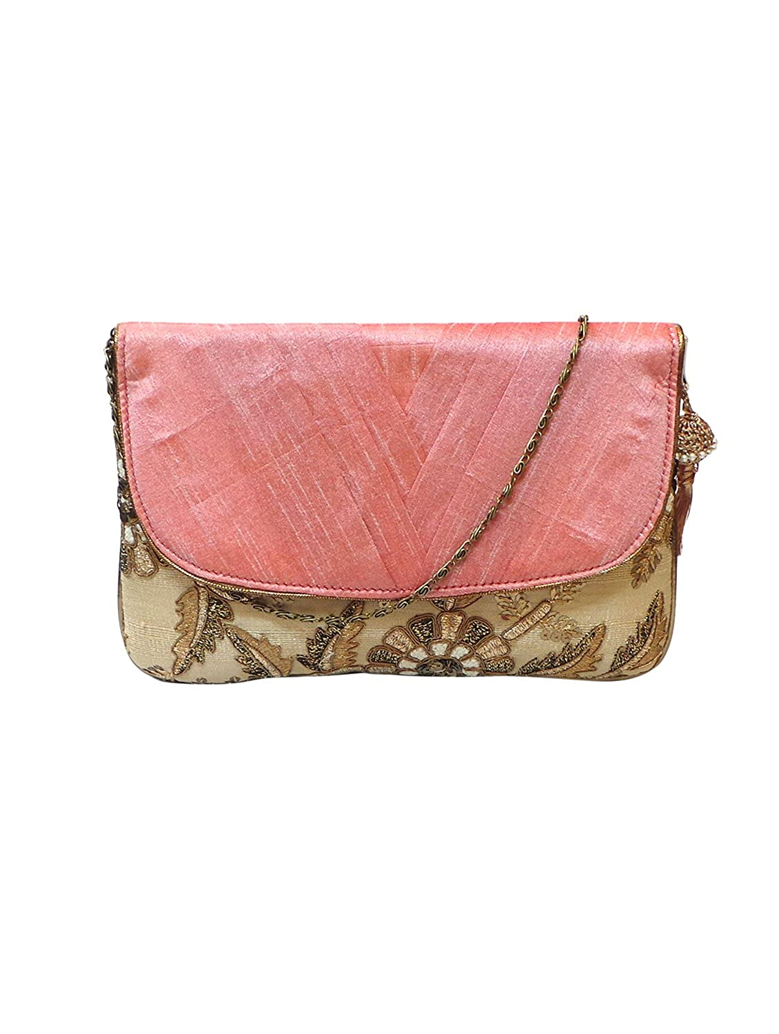 Bhamini Pink V Pleated Elegant Clutch