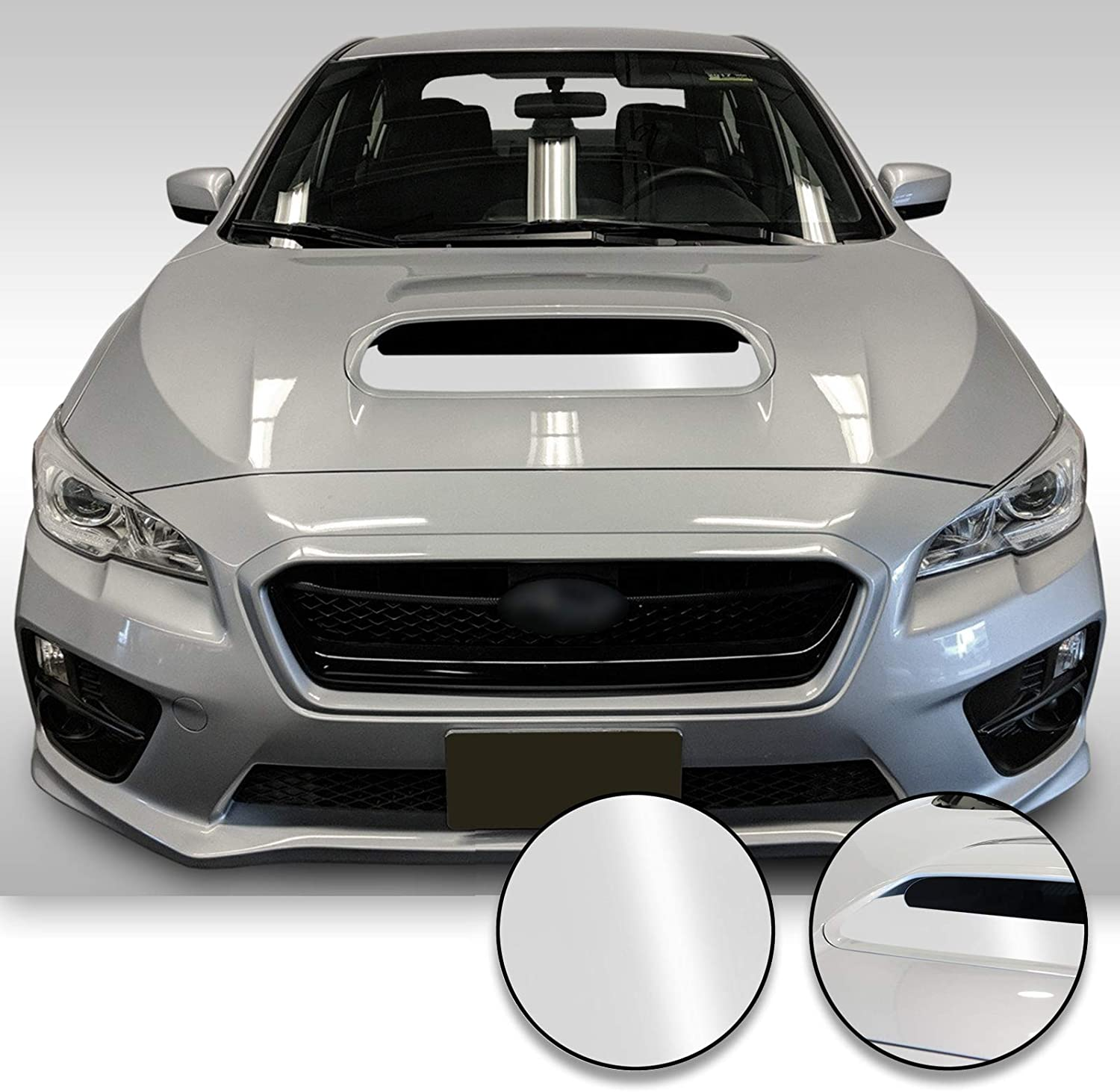 Glitter Gloss Black Optix Hood Scoop Vinyl Decal Overlay Wrap Trim Inserts Sticker Compatible with and Fits WRX STi 2015 2016 2017 2018 2019 2020