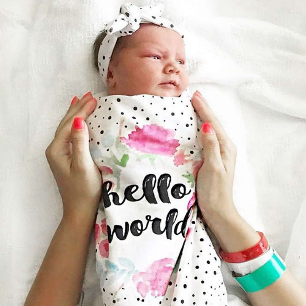 2pcs Newborn Baby Blanket Swaddle Sleeping Bag Stroller Wrap Letter Dot Print Sleep Sack Headbands for Indoor Outdoor (A, 2pcs) by Aritone - Baby Clothes (Image #2)