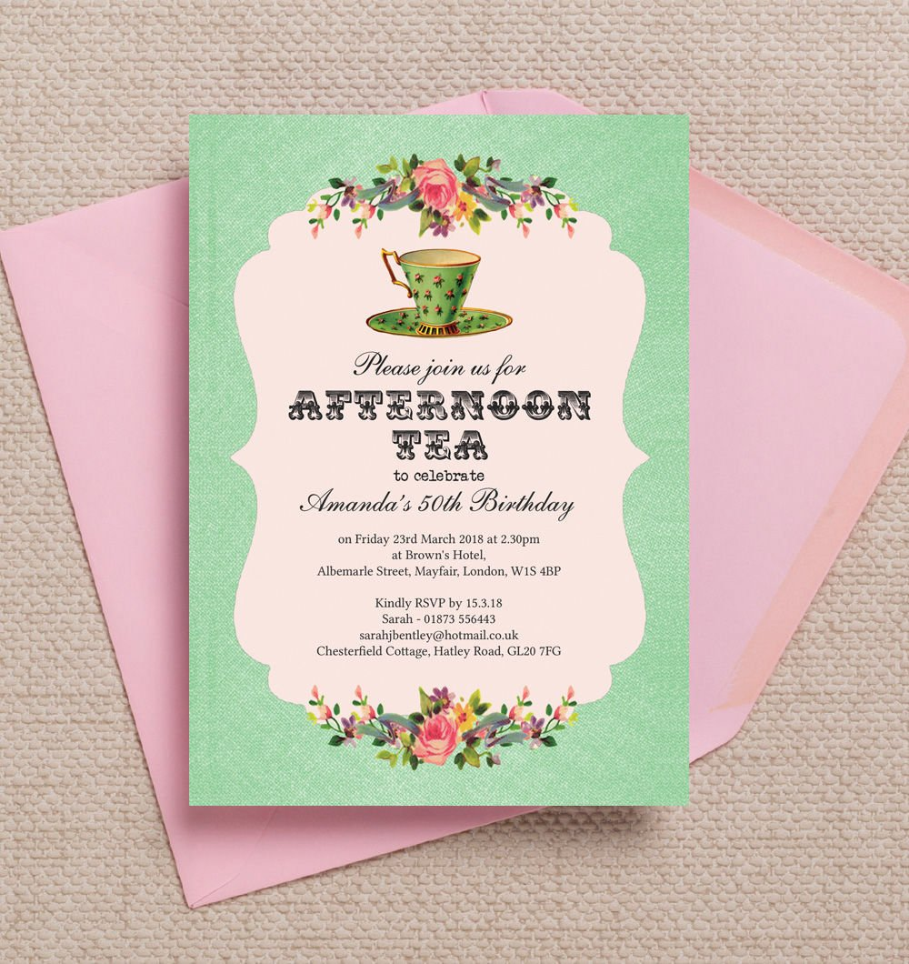 Personalised Afternoon Tea Birthday Invitations With Envelopes Pack Of 10 Amazoncouk Kitchen Home