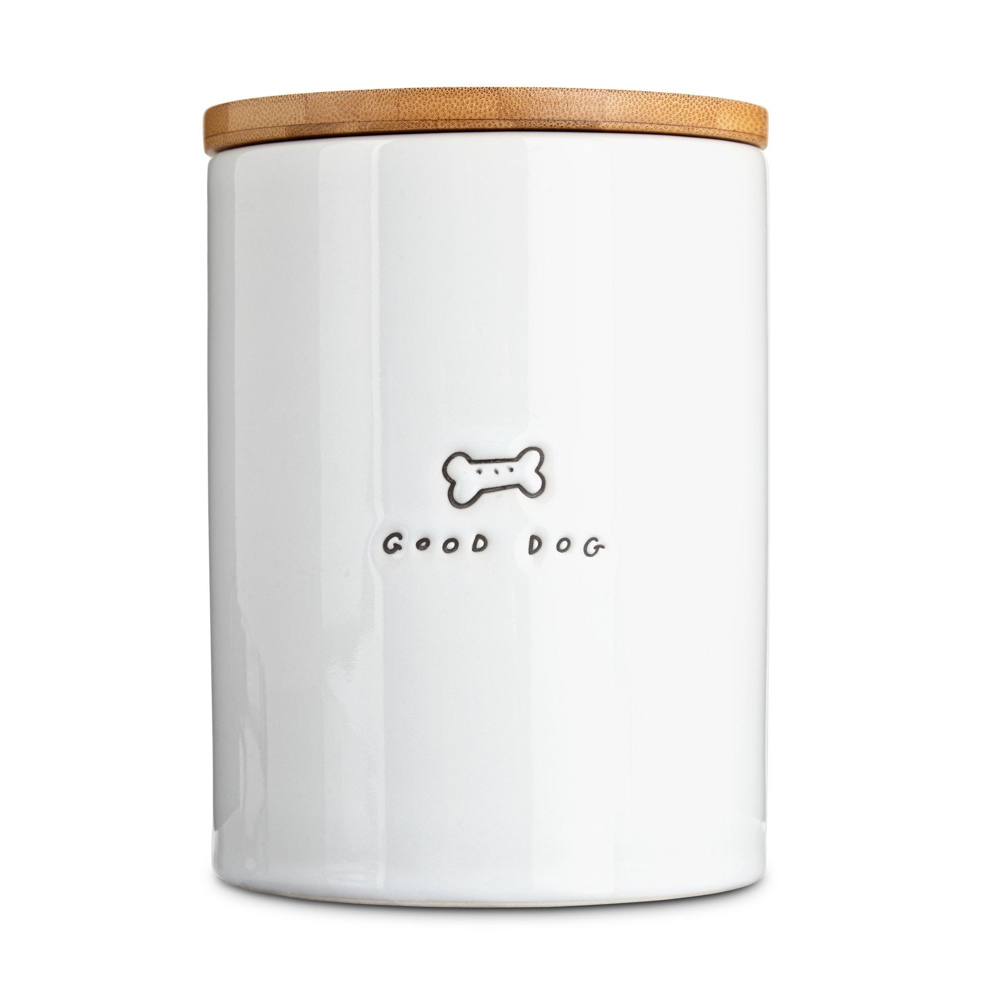 Harmony Good Dog Ceramic Dog Treat Jar, Large, White / Natural Wood