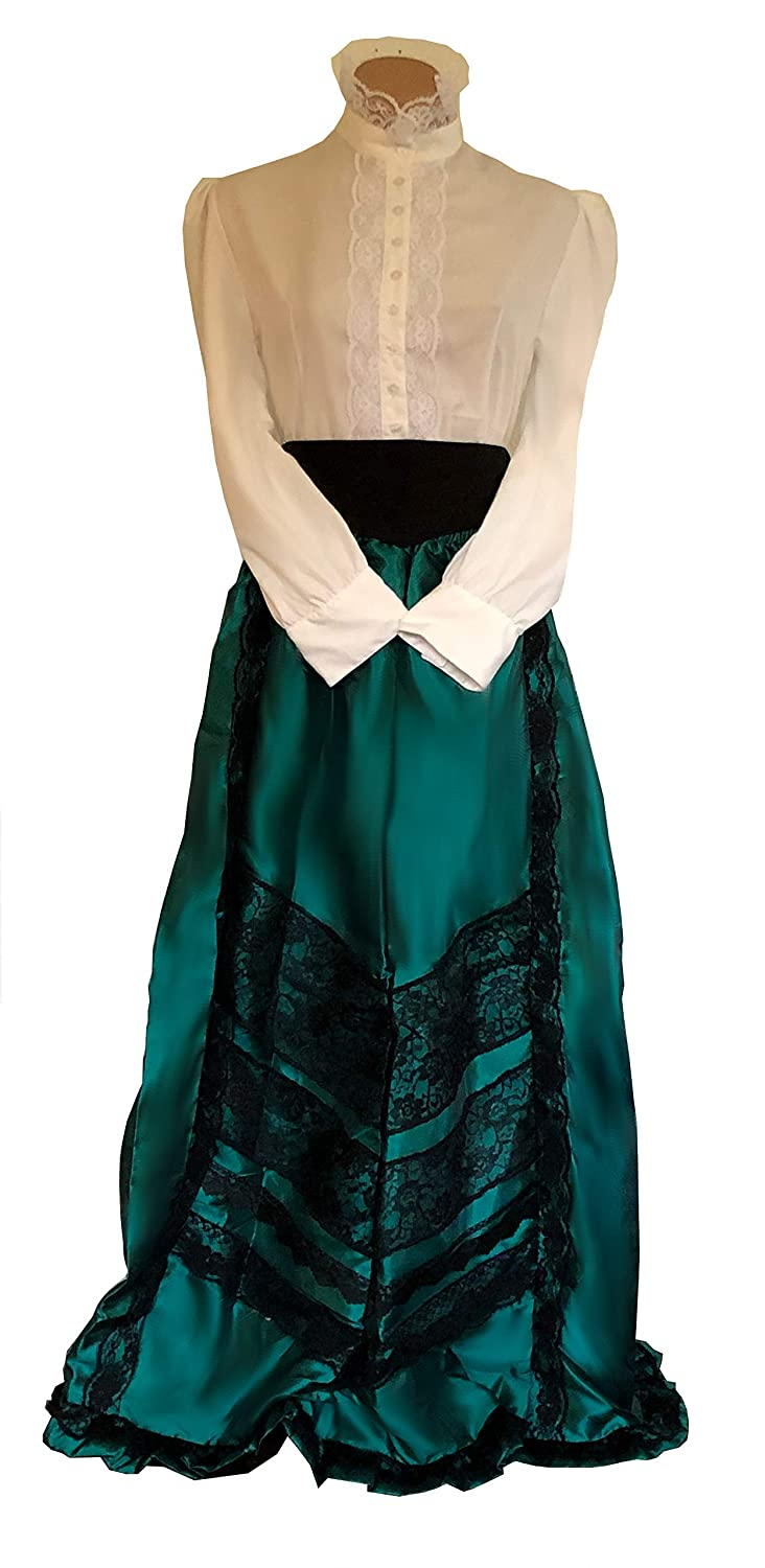 Vintage Tea Dresses, Floral Tea Dresses, Tea Length Dresses Edwardian Historical Cosplay Costume Skirt Blouse and Belt Set $68.99 AT vintagedancer.com