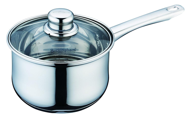 Buckingham inducción Profunda Olla de Acero Inoxidable Olla con Tapa de Cristal, 16 cm/2 litros - Premium Quality: Amazon.es: Hogar