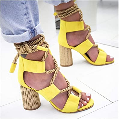 Womens Sandals Summer Fish Mouth Open Toe Lace-up Thick Heel mid Heel Womens Shoe
