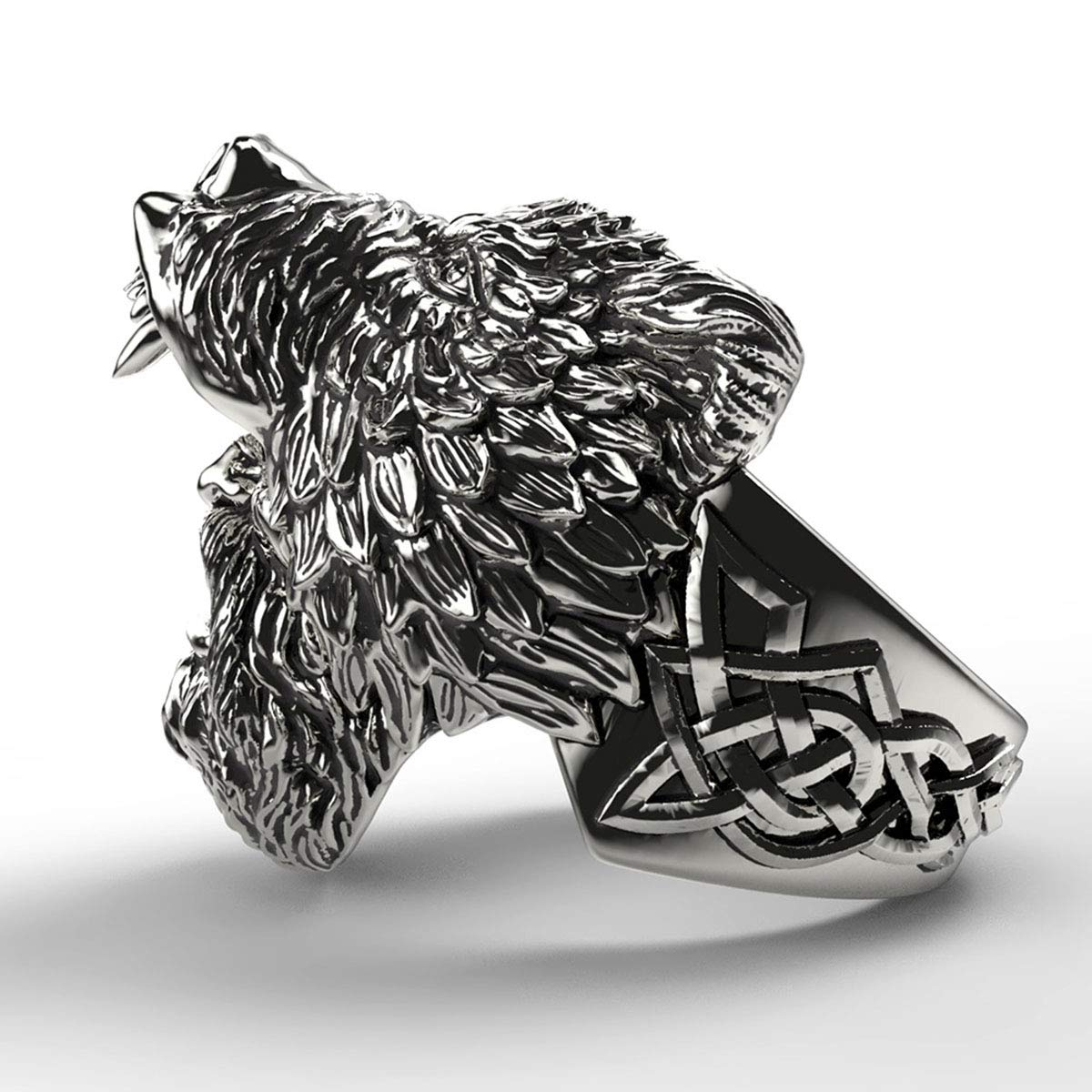 Ztuo Stainless Steel Rings for Men Viking Bear Silver Black Titanium Biker Band Cool Jewelry Size 8-14