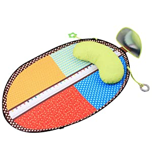KAKIBLIN Baby Play Mat, Tummy Time Baby Mats Crawling Mat Activity Center for Kids with Distorting Mirror, Baby Teethers, Pillow, 80 x 51cm /31.5 x 20in