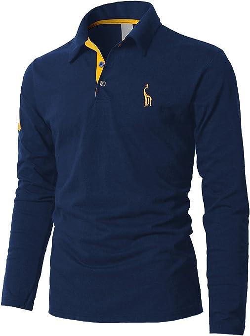 STTLZMC Polos Hombre Mangas Largas Camiseta Algodón Deporte ...
