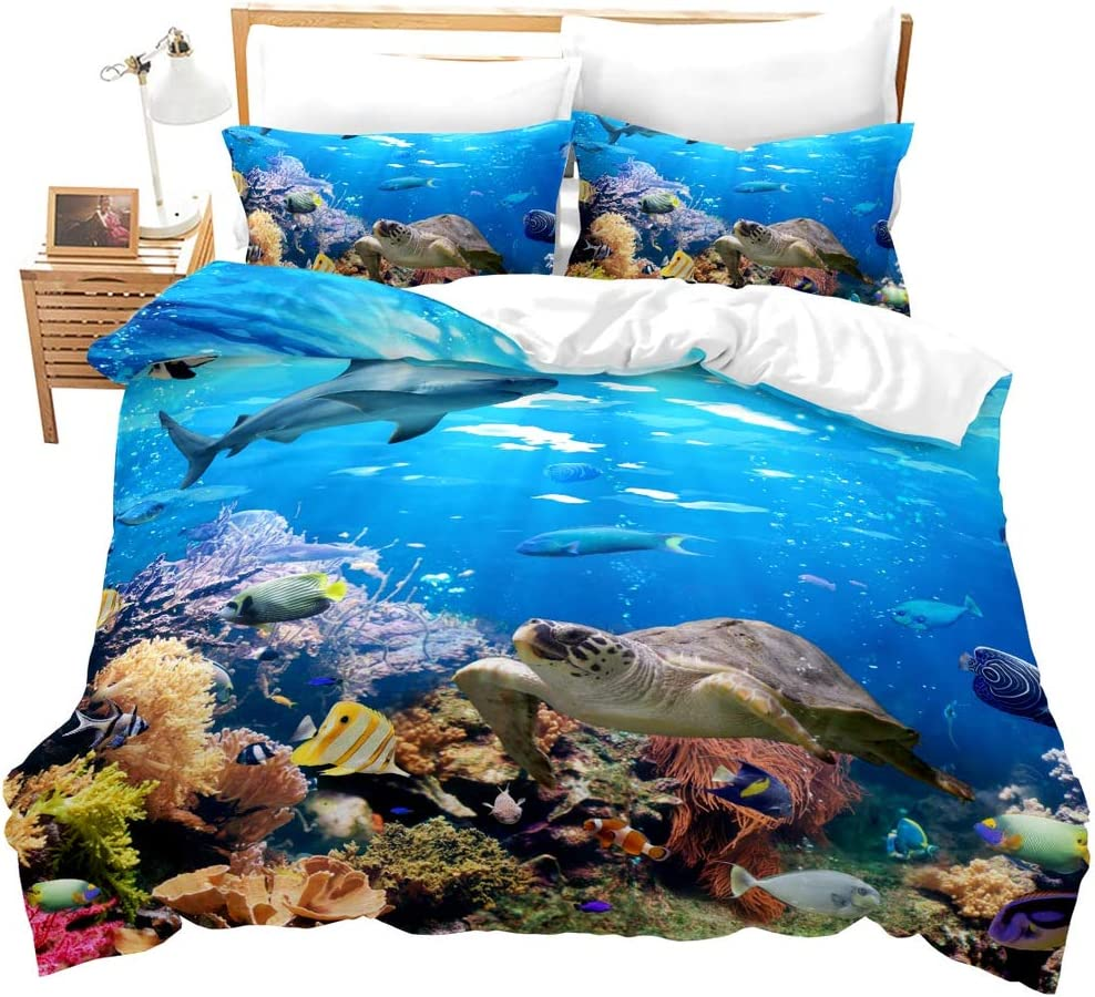 Erosebridal Sea Turtle Duvet Cover Twin Size Shark Bedding Set,Ocean Animals Fishes Bed Set,Tortoise and Rainbow Color Coral Printed Home Textiles Comforter Cover for Teens Boys Girls,with Zipper
