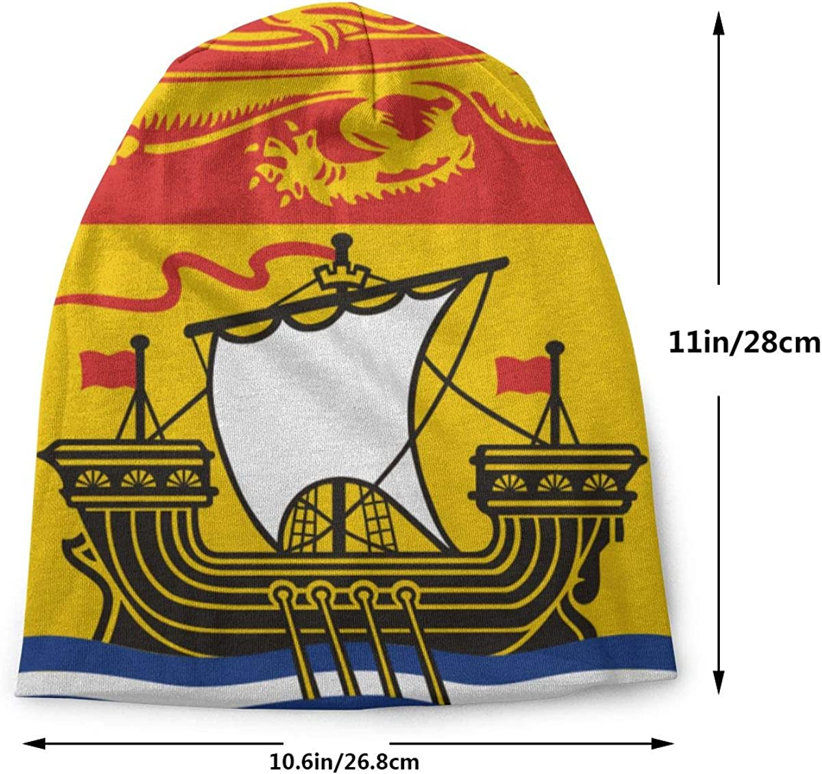 Lake-OD Flag of New Brunswick Thin Baggy Slouchy Knit Beanie Hat Hip-hop Skull Cap for Mens and Womens