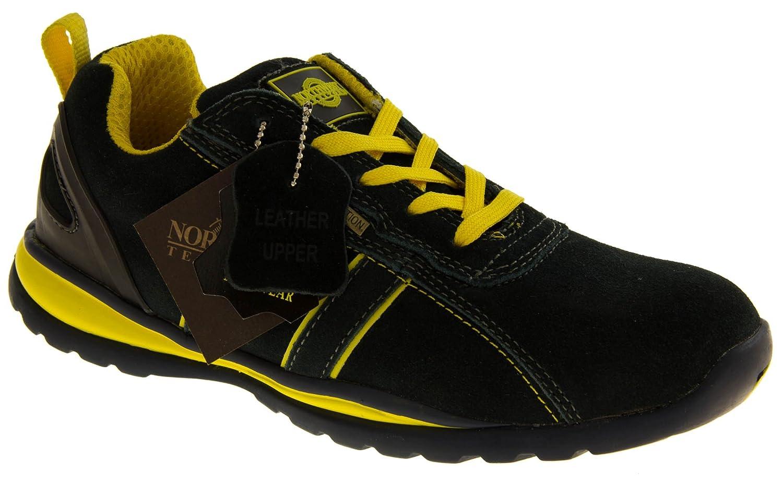 Groundwork GR86 Zapatos de Seguridad de Cuero, Unisex, Azul (Navy/Yellow), 42 EU (8 UK)
