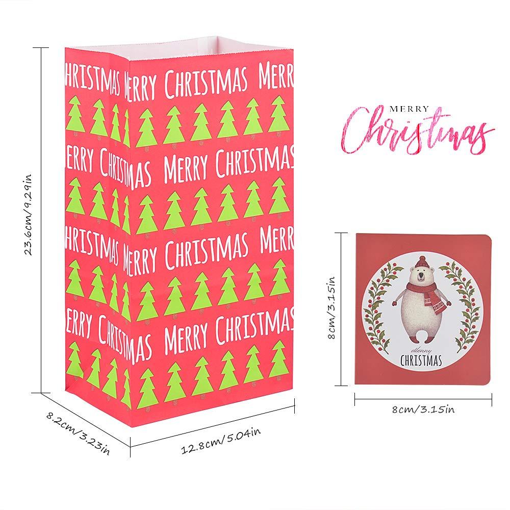 30 buste di carta+15 biglietto natalizio per creazioni personalizzate calendari dell/'Avvento minuteria regali per gli ospiti da riempire ad es Set per i fai da te