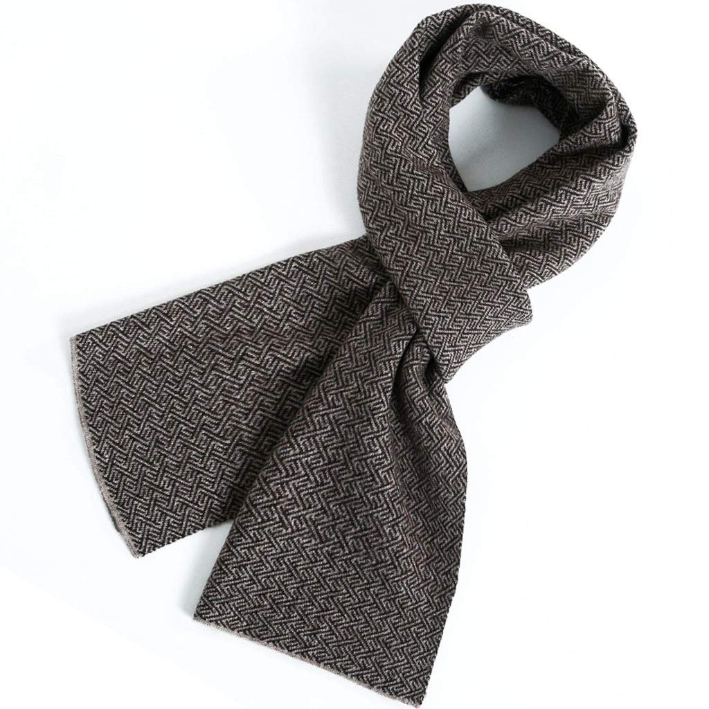 BROWN NJ Scarf Autumn and Winter Korean Version of The Wild highend Simple Knitted Scarf Male (color   Brown, Size   30x180cm)