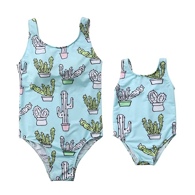 dfe19ff992 Amazon.com: Mother Daughter Family Matching Swimsuit One Piece Cactus  Monokini Bathing Suit: Clothing