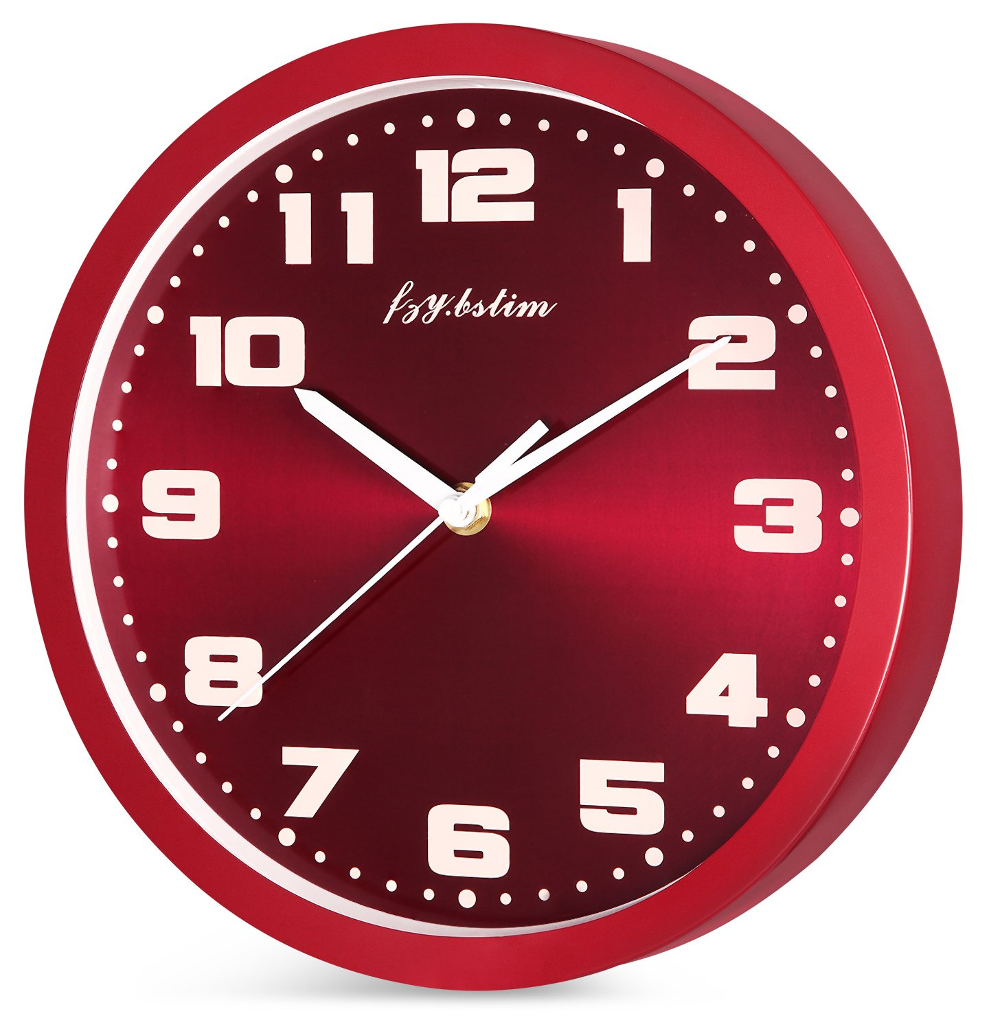 Fzy.bstim Silent Non-Ticking Wall Clock Battery Operated,10 Inch Modern Round Living Room/Office/School/Kitchen Clock,Red - EASY TO READ WALL CLOCK : Large numbers and glass cover guarantees perfect view. SILENT NON TICKING WALL CLOCK : Super quality quartz sweep movement guarantees accurate time and absolutely silent environment. CLASSIC METAL FRAME AND DIAL FACE : Special and elegant design will make a stunning addition and is easy to match in any interior of your living room, kitchen, bedroom or any part of your house. - wall-clocks, living-room-decor, living-room - 71W0stzZC0L -