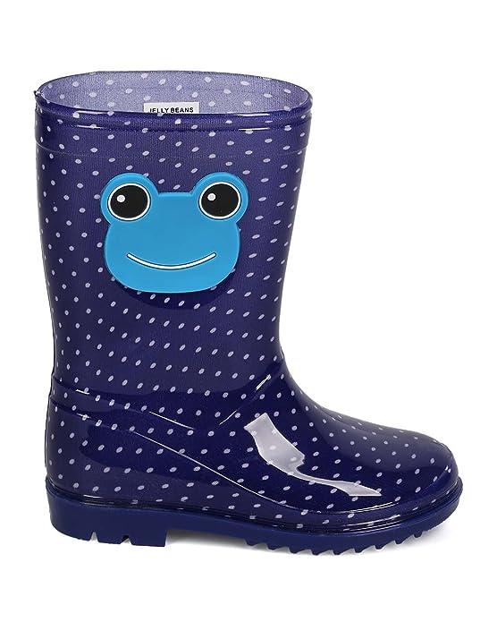 EF69 Blue Kids Boy Girl Polka Dot Jelly Round Toe Pull On Rain Boot Toddler
