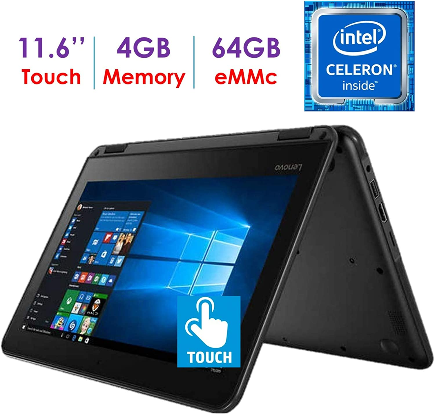 Newest Lenovo 300e Business 2-in-1 11.6'' HD IPS Touchscreen Laptop/Tablet, Intel Celeron Quad-Core N3450 up to 2.2GHz, 4GB DDR4 RAM, 64GB eMMC Drive, 802.11ac WiFi, Bluetooth 4.1, Windows 10 S/Pro
