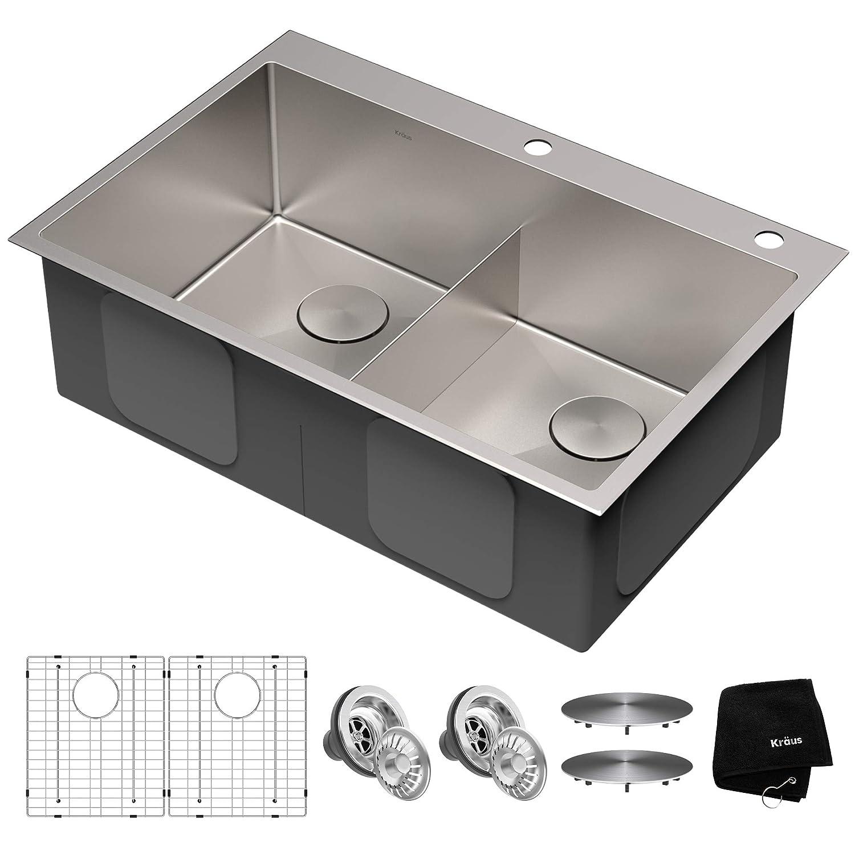 Kraus KHT302-33 Standart PRO Kitchen Sink, 33, 33 Inch 50 50 Double Bowl