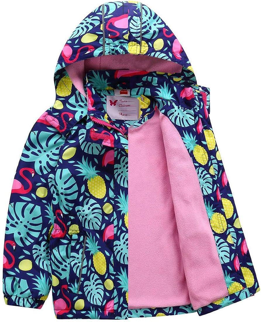 HILEELANG Kids Boy Girl Rain Jacket Waterproof Fleece Hooded Rain Jacket Coat Warm Windbreaker Softshell Outwear