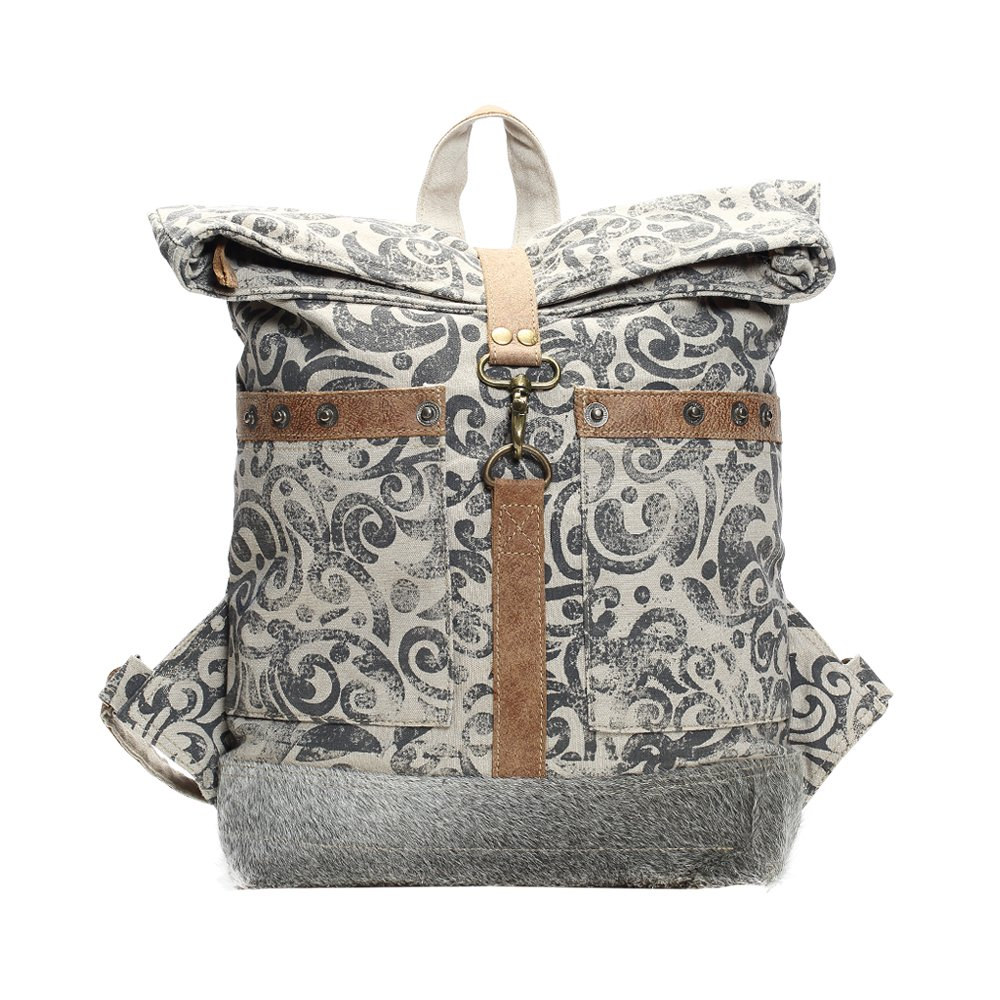 Myra Bag Floral Cowhide /& Upcycled Canvas Backpack S-1161 MY-S-1161