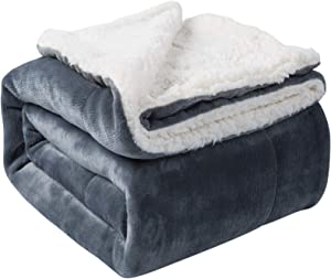 VOTOWN HOME Flannel Blanket Reversible Sherpa Throw Blanket Super Soft Fuzzy Plush Microfiber (90