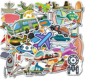 Rainmae 90Pcs Automotive Engineering Vehicle Stickers-Cars,Airplane,Ambulance,Fire Trucks,Rocket Laptop Sticker Pack, iPad Water Bottle Refrigerator Skateboard Graffiti Decals, Trucks Party Decoration