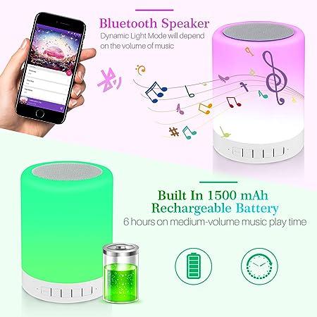 LED Multicolore Cadeau Bluetooth Musique Lampe de Table,Trois R/églages de luminosit/é et Septde Couleur,chaude pour la chambre et le salon 5 EN 1 Lampe de Chevet Tacile Portable Color night light