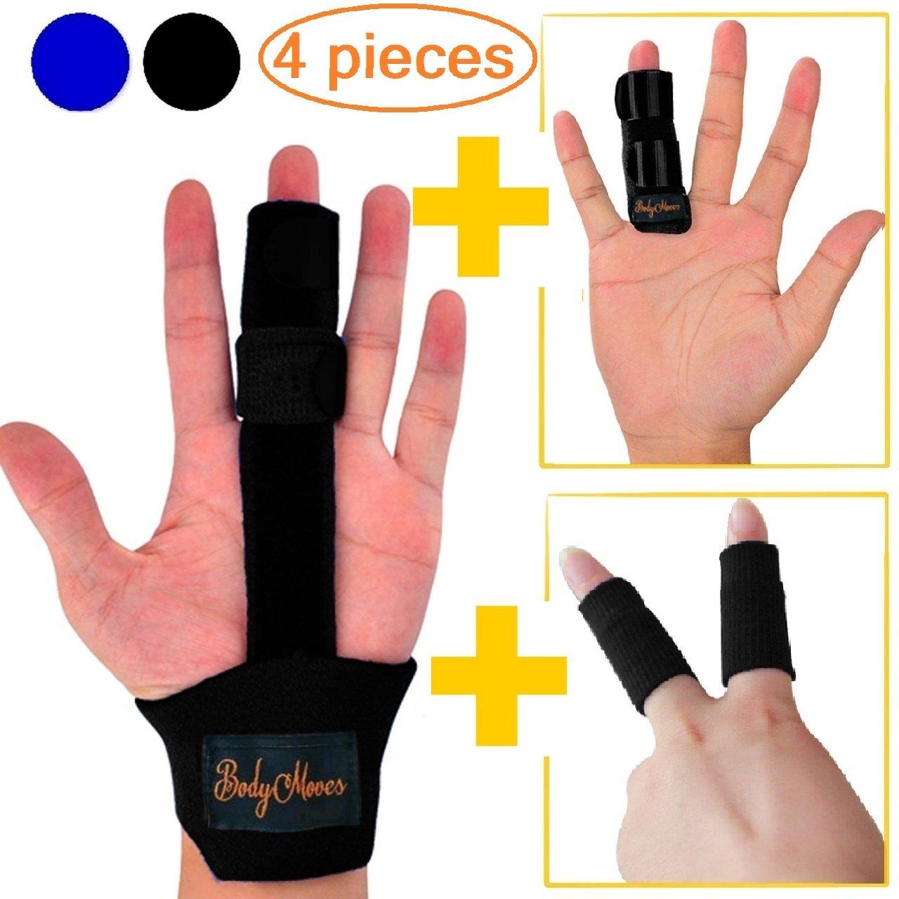 BodyMoves Finger Splint Plus Finger Extension Splint Plus 2 Nylon Sleeves for Trigger Finger Mallet Finger Broken Finger Rheumatoid Arthritis Post Operative Care (Midnight Black)