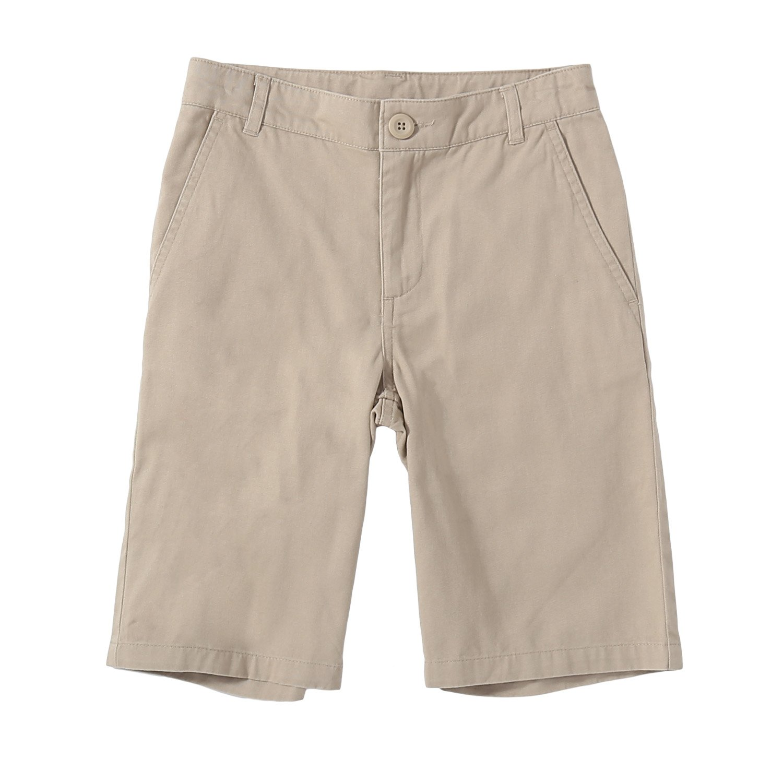 Bienzoe Big Boy's School Uniforms Flat Front Twill Bermuda Shorts Khaki Size 12