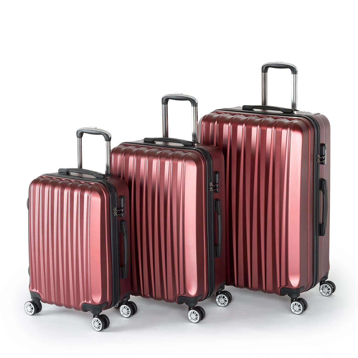 Compaclite Voyager ABS + PC 3 Piece Luggage Set Lightweight Spinner Suitcases, Burgundy by Compaclite