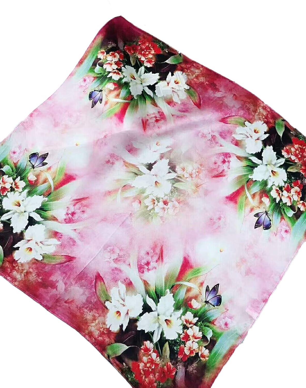 Women's 100% Mulberry Silk Square Scarf Neckerchief Headscarf Neck Tie 53 X 53cm