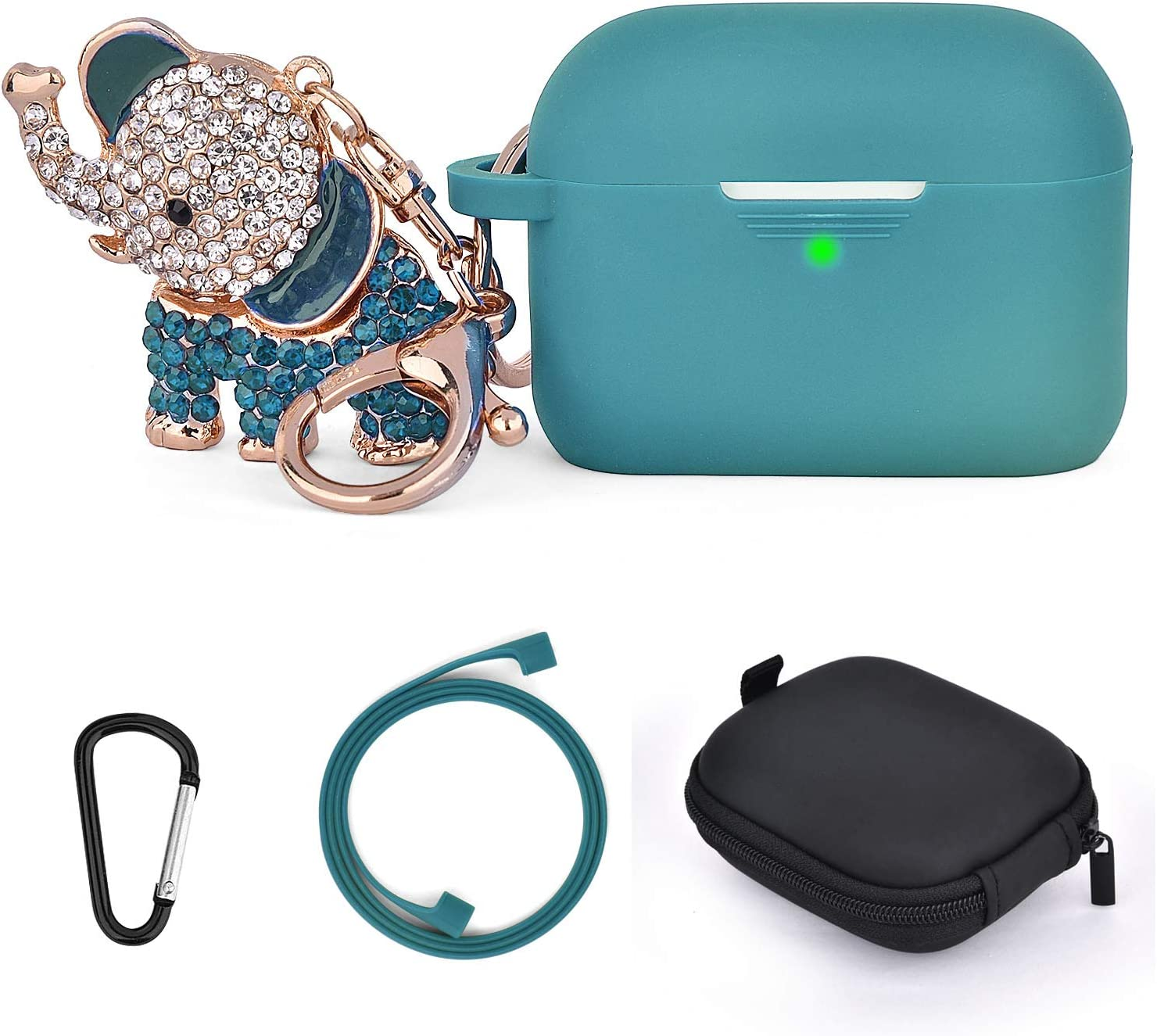 Airpods Pro Cases Keychain, TOROTOP 5 in 1 Airpod 3 Silicone Protective Case with Bling Elephant Keychain/Storage Box Compatible for Apple Airpods Pro Charging Case (Turquoise)