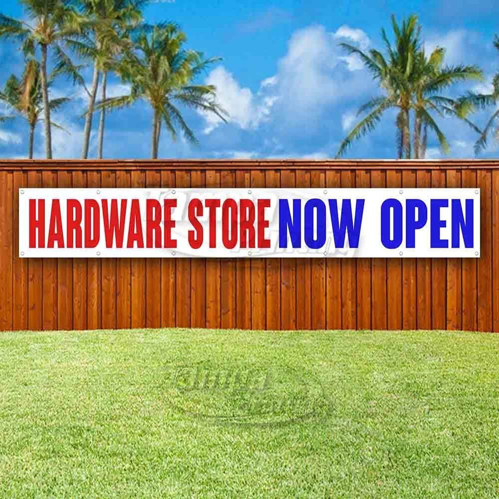 Advertising Store Flag, New Hardware Store Now Open Extra Large 13 oz Heavy Duty Vinyl Banner Sign with Metal Grommets Many Sizes Available