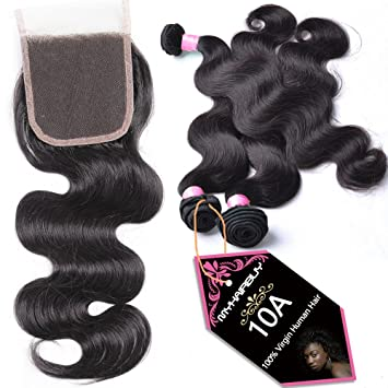 Debut Hair Indian Body Wave Closure 4x4 Human Hair Lace Closure With Bleached Knots Free Middle Three Part Remy Hair Closure Lace Wigs