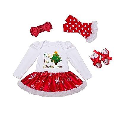 b66b41d10 Kingko 0-24 Months Baby Toddler Girls Xmas Romper Tutu Dress Leg ...