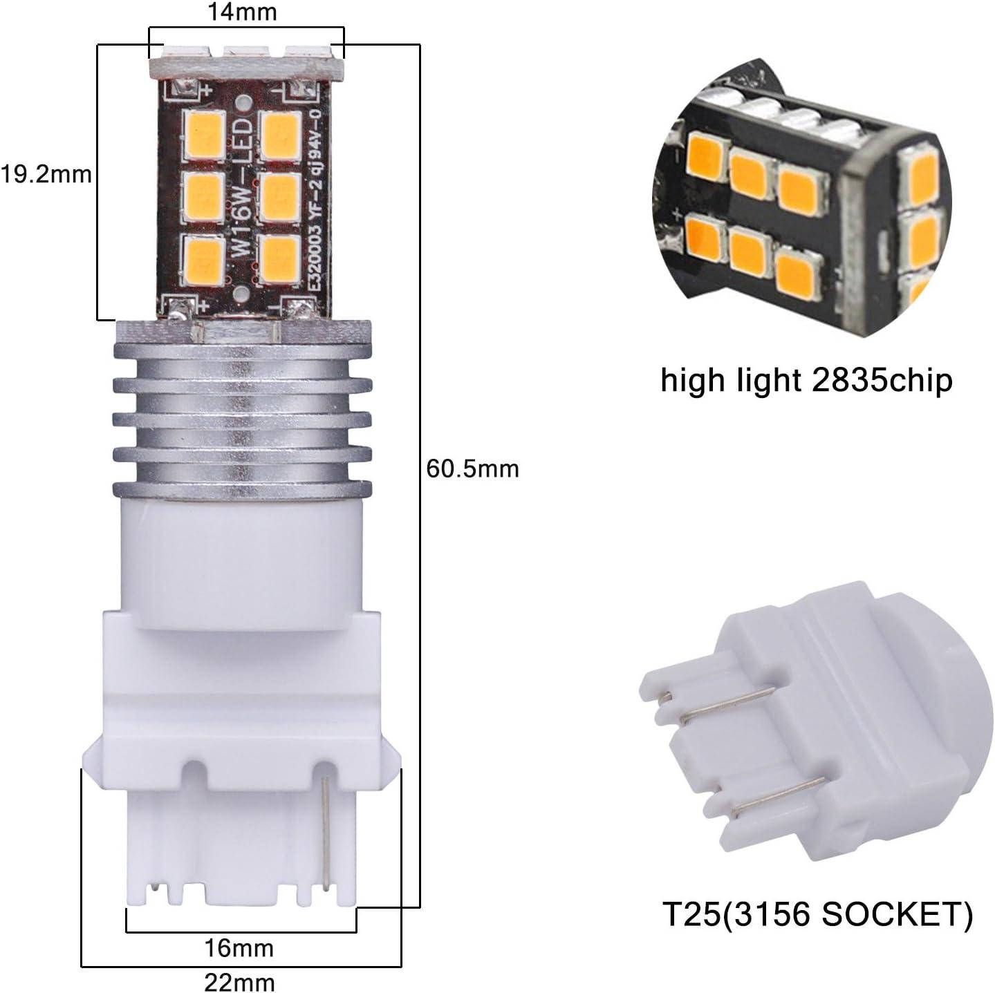 KaTur 4pcs High Power 800 Lumens Super Bright 3156 3156A 3456 LED 15SMD 2835 Backup Reverse Tail Brake Lights Parking LED Blubs DC 12V White