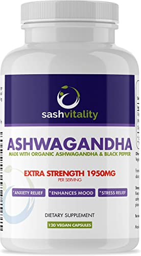 Organic Ashwagandha High Strength 1950mg Root Powder – 120 Vegan Capsules – Ashwaganda Supplement Organic – Black Pepper Extract Piperine for Maximum Absorption Immune System Boost